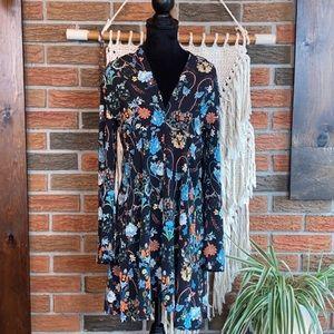 ZARA Long Sleeved, Floral Midi Dress